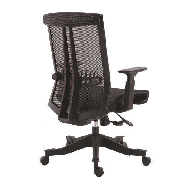 Twyst Series German Krall + Roth Flexible Black Mesh Back Task Chair - Rear View - Black Fabric Seat - EM5200-BLACK - 5 Seat Colors