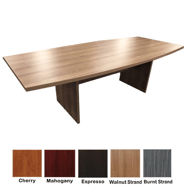 Ultra 8 Feet Conference Table - Boat Shape Design - Modern Walnut - 5 Finishes
