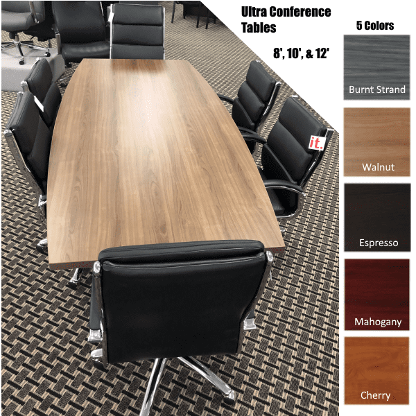 Ultra Boat Shape Conference Tables in 3 SIzes - 5 Finishes