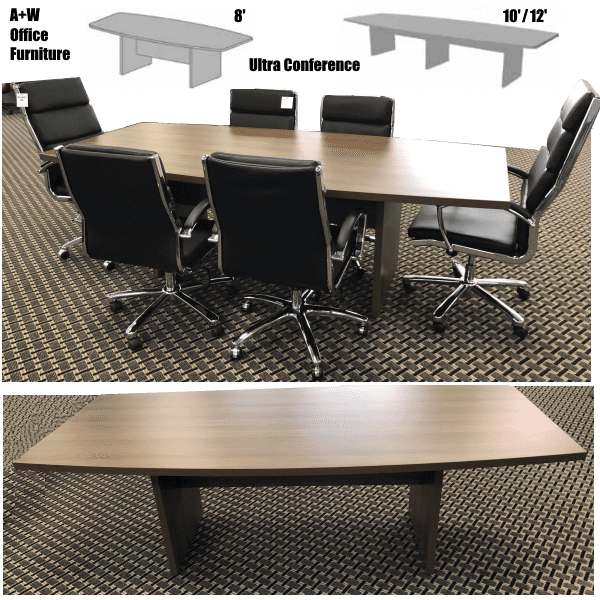 Ultra Boat Shape Conference Tables in 3 SIzes Stocked Local - 5 Finishes