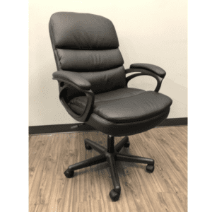 Segmented Mid Back Swivel Chair in Black Vinyl