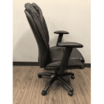 Black Faux Leather Swivel Chair - Side View