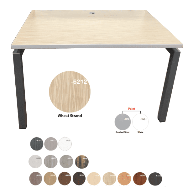 Bench iT 30D x 48W Desk Brushed Silver Base Wheat Strand Top - 16 Colors - Brushed Silver or White Base