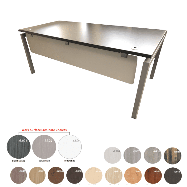 Bench iT 36D Inches x 72 Inches Wide Desk Brushed Silver Base with Burnt Strand Surface Top - 16 Colors - Brushed Silver or White Base - Optional Mobile Storage Pedestal