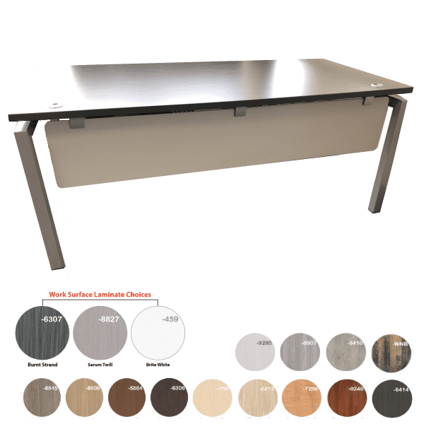 Bench iT 36D Inches x 72 Inches Wide Desk Brushed Silver Base with Burnt Strand Surface Top - 16 Colors - Brushed Silver or White U Legs - Rev