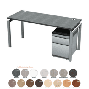 66 or 71 Inch Wide x 24 Inch Deep Benching Desk Brushed Silver Bas