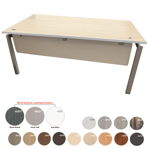 Bench iT Desk Brushed Silver Base with Wheat Strand Top - 16 Colors - Brushed Silver or White U Legs