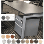 Bench iT Executive Desk Brushed Silver Base Burnt Strand Top - 16 Finishes