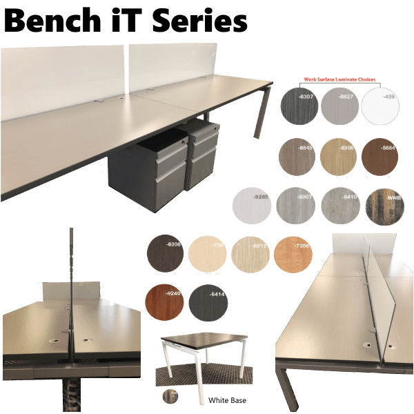Bench iT Series Benching Office Furniture - 16 Finish Colors and 2 Paint Colors