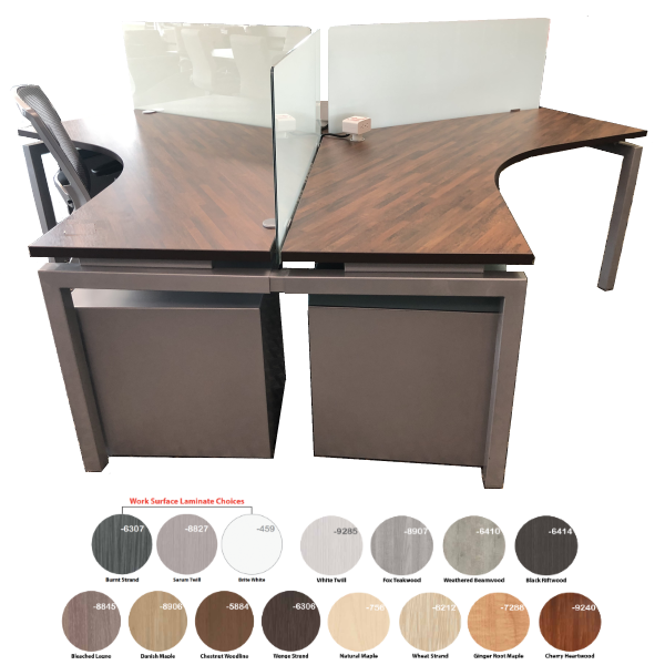 Bench iT 120 Degree 3-Person Workstation with 19