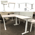 Lift it L Shape Workstation White with 12 Inch Frosted Glass Screen - White or Silver Base