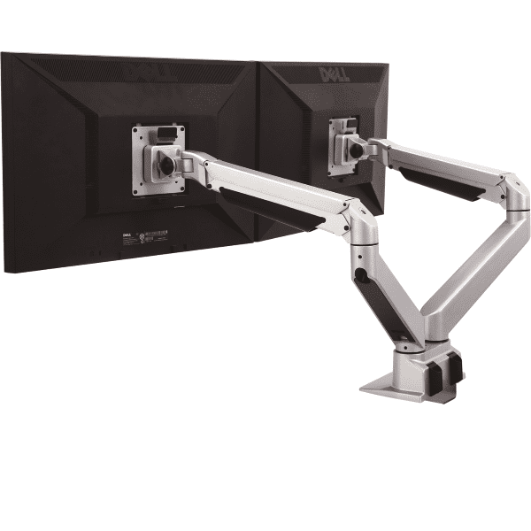 OFD-203S Dual Mount Silver Reach Monitor Arms