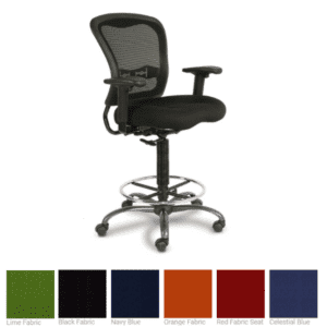 Spice Black Mesh Back Task Stool with Black Fabric Seat