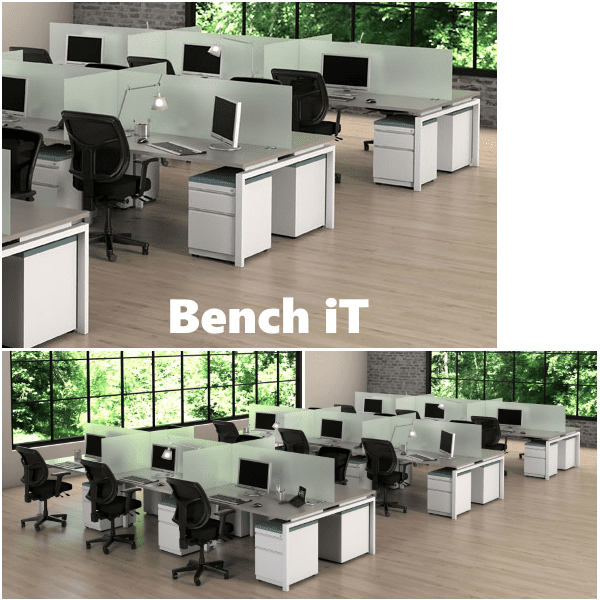 Bench iT Workstations Shown in Sarum Twill Finish with White Base - 19 Inch Tall Frosted Glass Screens