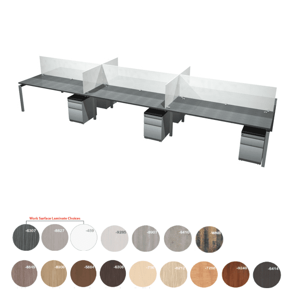 Bench it 18 Feet 6 Person Benching Workstations Group - 2 x 3 Layout - Anderson Worth Office Furniture