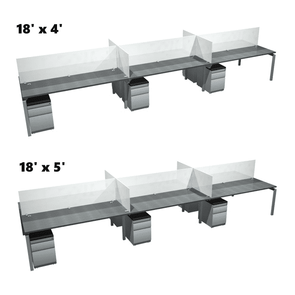 Bench it 18 Feet x 4 & 5 Feet Deep 6 Person Benching Workstations Group - 2 x 3 Layout - Anderson Worth Office Furniture