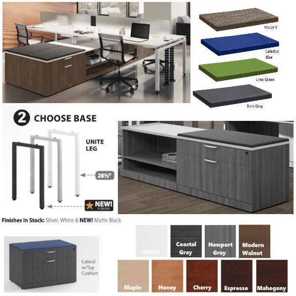 Benching Finishes - 8 Color Laminates - 3 Steel U Leg Base Colors - Stocked - Anderson + Worth Office Furniture