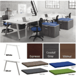 Bevel 15 or 18' 6 Person Workstation - 2 x 3 Layout - Anderson Worth Office Furniture