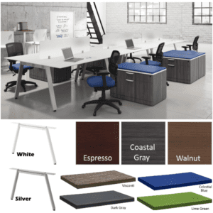 Bevel 15' 6 Person Workstations