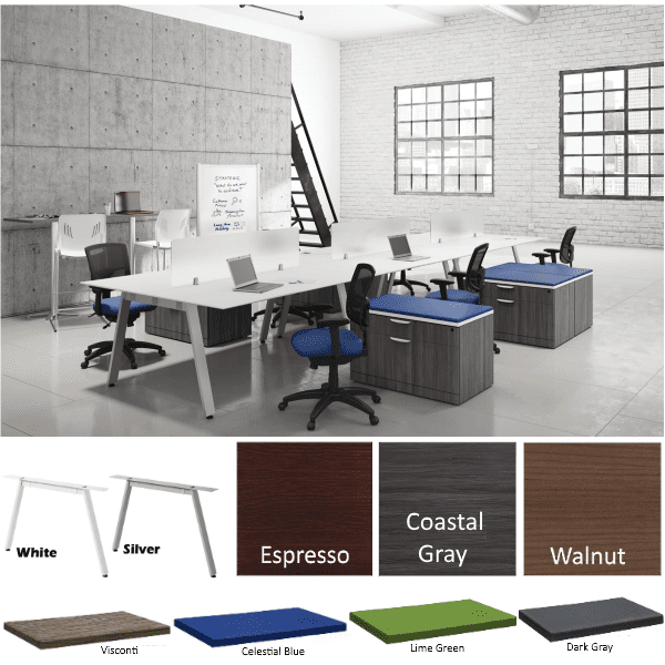 Bevel 18' 6 Person Workstations - 2 x 3 Layout Stocked - Anderson Worth Office Furniture