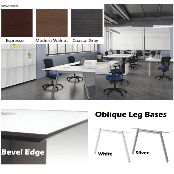 Bevel Edge Collaborative Workstation - 2 x 3 Layout - 6 Stations - Anderson & Worth Office Furniture - Dallas Fort Worth Metroplex