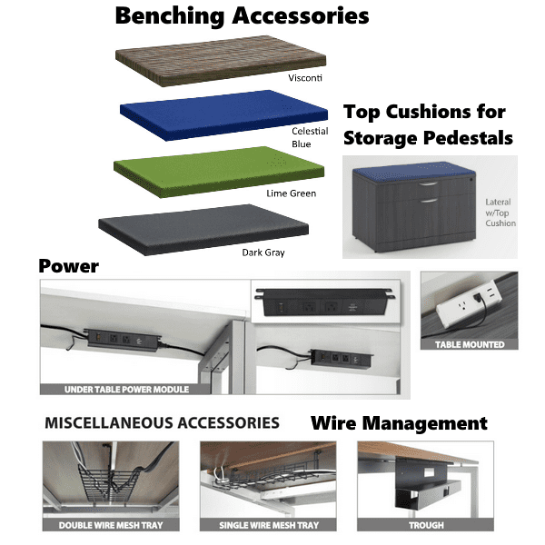 OS Benching Series - Fabric Cushion Colors Power Accessories and Wire Management - 9 Laminates - Anderson Worth Office Furniture