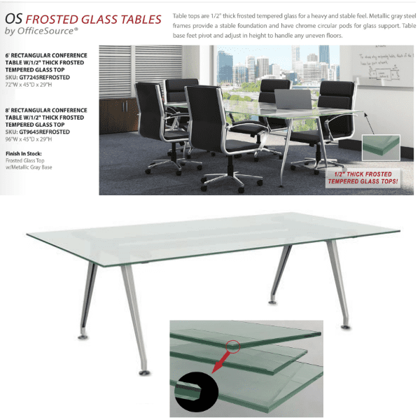 6 Frosted Gl Conference Table