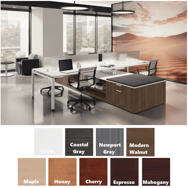 OS157 12 x 12 Benching with Optional top Cushions and Frosted Acrylic Screens - Modern Walnut + White Finishes - Silver Base - AW Office Furniture