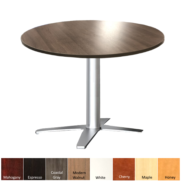 Round Modern Walnut Break Room Table with Prong Base