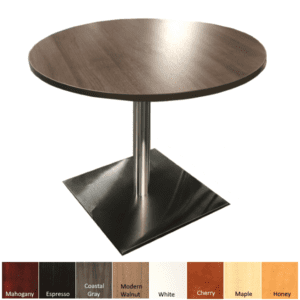 Modern Walnut Round Table with Square Aluminum Base