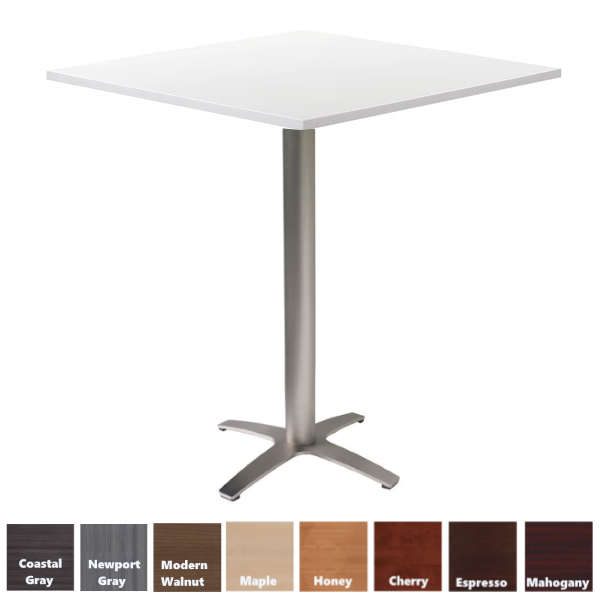 White Top Cafe Bar Height Table with Prong Base