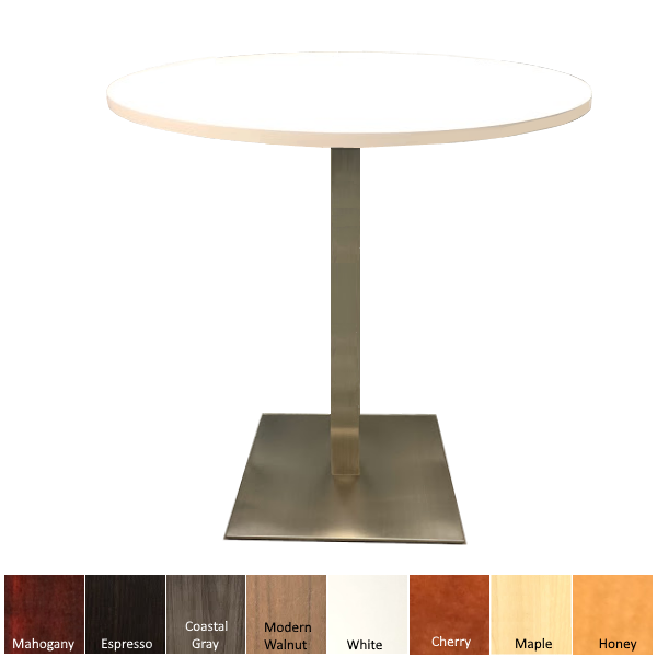 COe Round Bar Height Table with Round Top and Square Base
