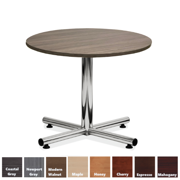 Round Surface Table with Chrome X-Base