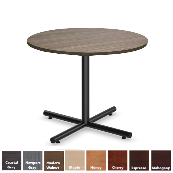 Round Cafe Table with X-Base in Black