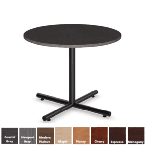 Round Table with Espresso Top and Black X-Base in Steel