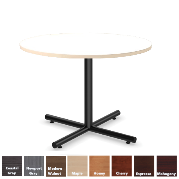 White Round Table with Black X-Base Cross Base