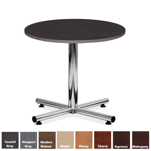 Round Table with Espresso Top and Chrome Base