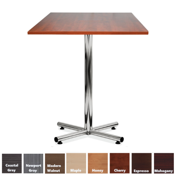 Bar Height Break Room Table with Standing Height Chrome X-Base