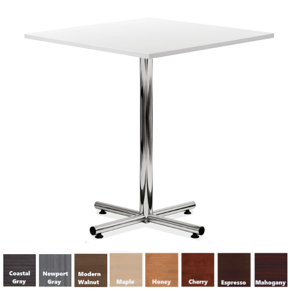 White Top X-Base Bar Height Table