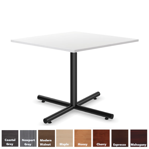 White Surface - Square Cafe Table with Steel Black X-Base