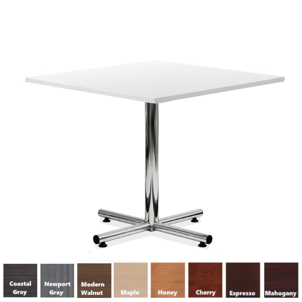 White Squared Top Break Table with Chrome Base