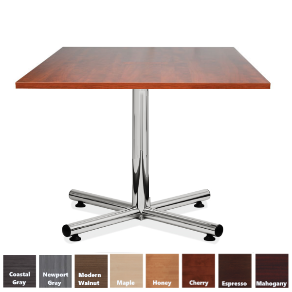Square Top Table with Steel Chrome X-Base