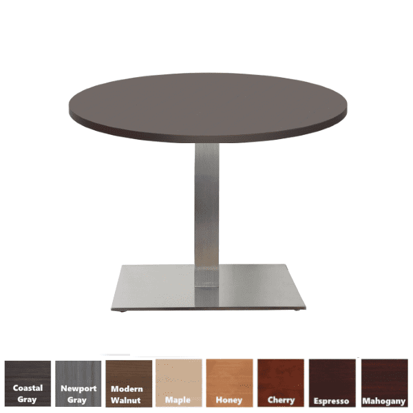 PL Round Espresso Top Conference Table with Square Platform Base