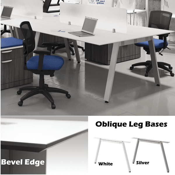Performance Laminate Bevel Edge Worksurface & Oblique Leg Bases - Anderson + Worth Office Furniture