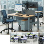 Height Adjustable Beam Benching Desks