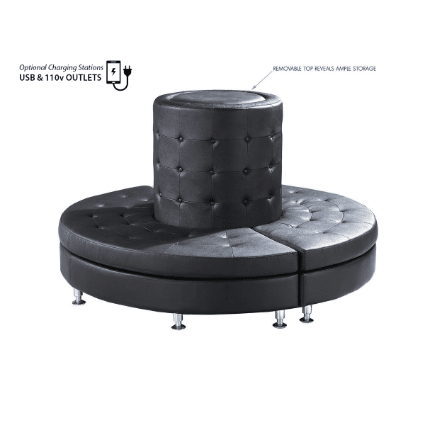 Round Modular Tufted Back Seating Pod - Optional USB Charging Ports + 110v Outlets