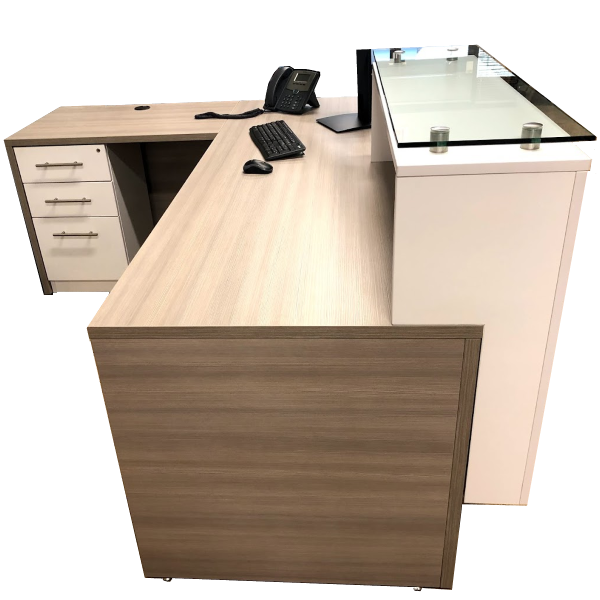 Deskmakers Stack On Reception Desk - Glass Transaction Counter