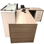 Deskmakers Stack On Reception Desk - Glass Transaction Counter - Right Handed