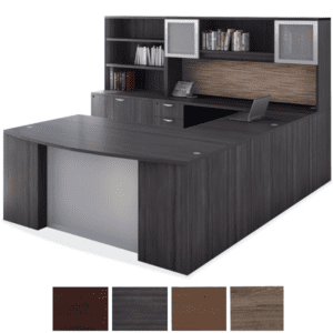 PL489 U Shaped Desk with Glass Modesty Panel