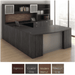 Performance U Shaped Executive Desk with 2 Glass Door Hutch & Lateral File with Bookcase - Right Bridge